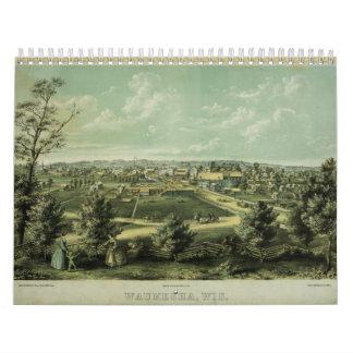 City of Waukesha Wisconsin from 1857 Wall Calendar