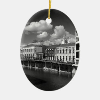 City of York River Ouse vies riverscape. Ceramic Ornament
