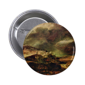 City On A Hill In Stormy Weather By Rembrandt Buttons