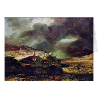 City on a hill in stormy weather by Rembrandt Card
