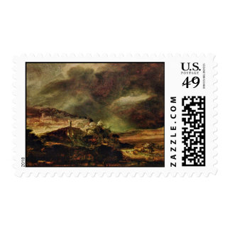 City On A Hill In Stormy Weather By Rembrandt Postage