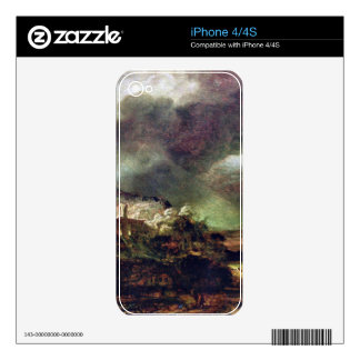 City on a hill in stormy weather by Rembrandt Skins For The iPhone 4