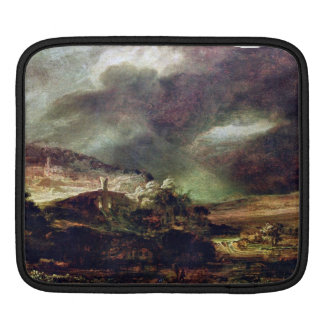 City on a hill in stormy weather by Rembrandt Sleeves For iPads