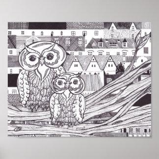 City Owls Print