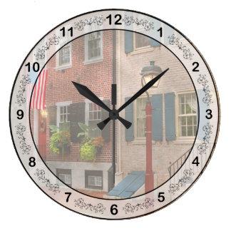 City - PA Philadelphia - American townhouse Large Clock