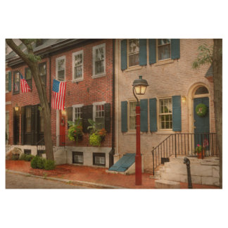 City - PA Philadelphia - American townhouse Wood Poster