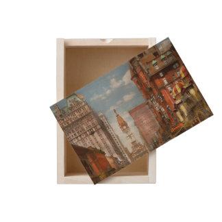 City - PA Philadelphia - Broad Street 1905 Wooden Keepsake Box