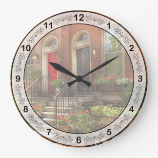 City - PA Philadelphia - Pretty Philadelphia Large Clock