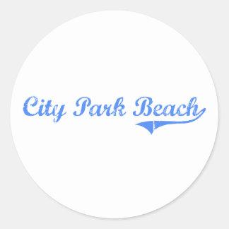 City Park Beach Rhode Island Classic Design Classic Round Sticker