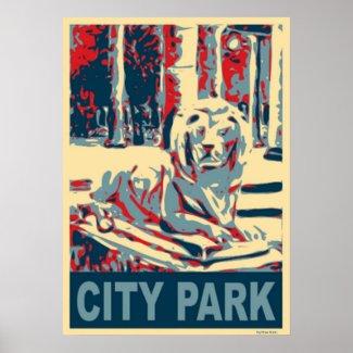 City Park Lion Poster