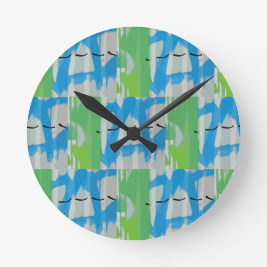 City Patchwork Round Clock