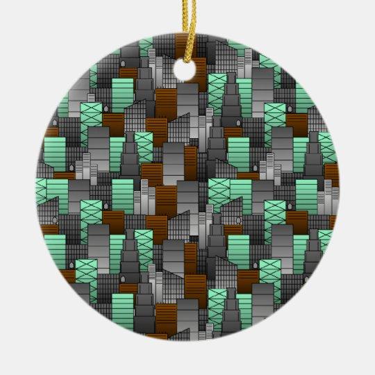 City Pattern Ceramic Ornament