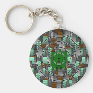 City Pattern with Radio Tower Keychain