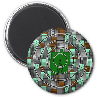 City Pattern with Radio Tower 2 Inch Round Magnet