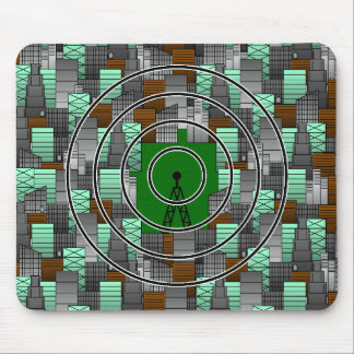 City Pattern with Radio Tower Mouse Pad