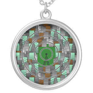 City Pattern with Radio Tower Silver Plated Necklace