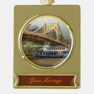 City - Pittsburg PA - Great memories Gold Plated Banner Ornament