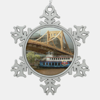 City - Pittsburg PA - Great memories Snowflake Pewter Christmas Ornament