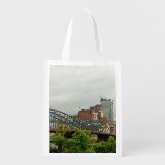 City - Pittsburg PA - The grand city of Pittsburg Reusable Grocery Bag
