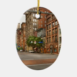 City - Pittsburgh PA - Running late Ceramic Ornament