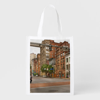 City - Pittsburgh PA - Running late Reusable Grocery Bag