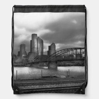 City - Pittsburgh, PA - Smithfield Bridge BW Drawstring Bag