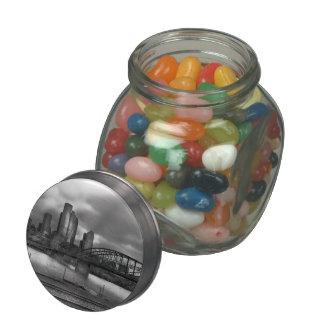 City - Pittsburgh, PA - Smithfield Bridge BW Glass Jar
