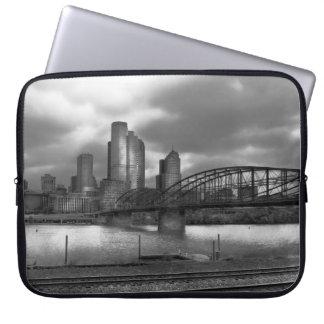 City - Pittsburgh, PA - Smithfield Bridge BW Laptop Sleeves