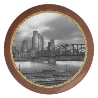 City - Pittsburgh, PA - Smithfield Bridge BW Melamine Plate