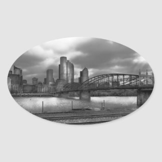City - Pittsburgh, PA - Smithfield Bridge BW Oval Sticker