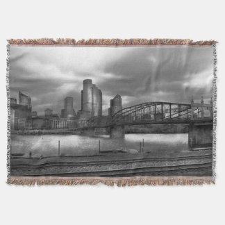 City - Pittsburgh, PA - Smithfield Bridge BW Throw Blanket