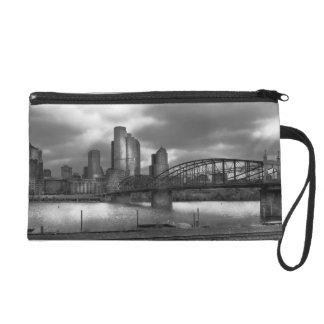 City - Pittsburgh, PA - Smithfield Bridge BW Wristlet
