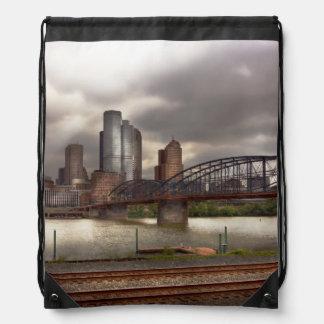 City - Pittsburgh, PA - Smithfield Bridge Drawstring Backpack