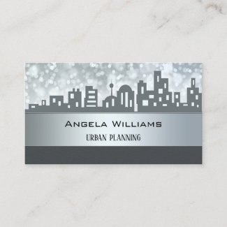 City Planning Skyline Silver Grey Business Card