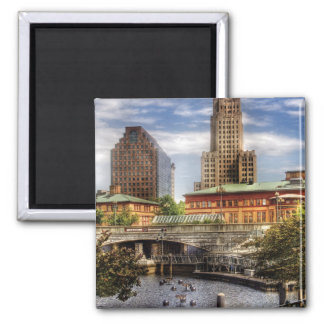 City - Providence RI - The Skyline 2 Inch Square Magnet