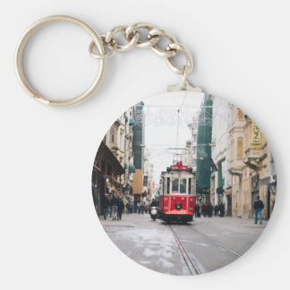 City Rail Car Basic Round Button Keychain