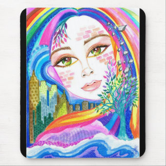 City Rainbow Rhapsody Fantasy Art Mousepad