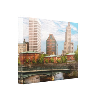 City - RI - Providence - The city of Providence Stretched Canvas Prints
