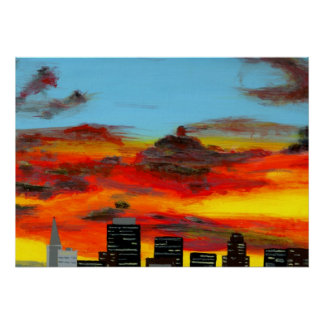 City Scape Acrylic Painting Poster