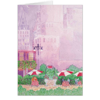 city scape cafe watercolor blank note card