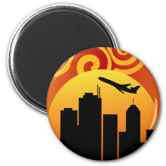City Scape 2 Inch Round Magnet