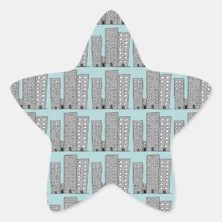 city scape star sticker