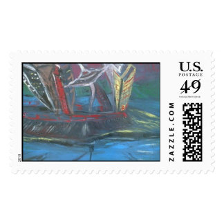 City Scape Supports Stamp