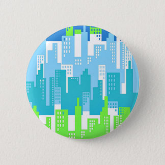 City Scape with High Rise Buildings Abstract Button