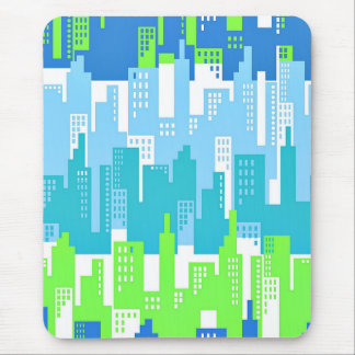 City Scape with High Rise Buildings Abstract Mouse Pad
