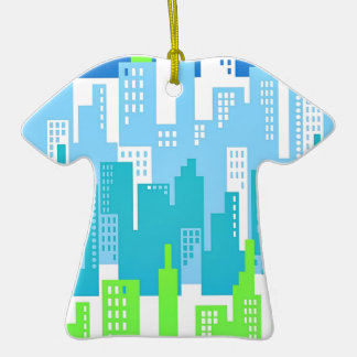 City Scape with High Rise Buildings Abstract Christmas Tree Ornament