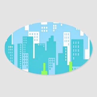 City Scape with High Rise Buildings Abstract Oval Sticker