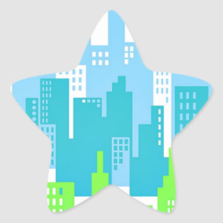 City Scape with High Rise Buildings Abstract Star Sticker