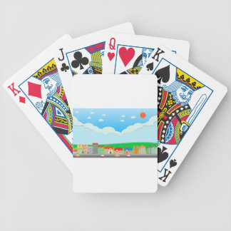 City scene at daytime bicycle playing cards