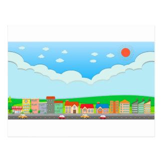 City scene at daytime postcard